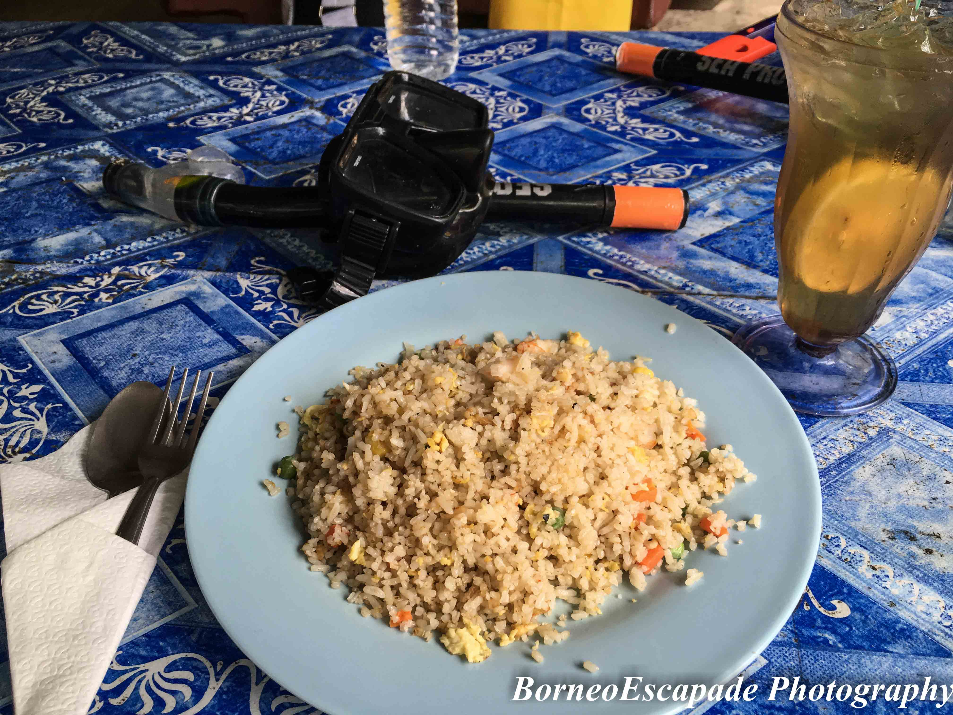 My plate of fried rice costed RM12.00 per plate and a glass of honey lemon ice costed RM5.00