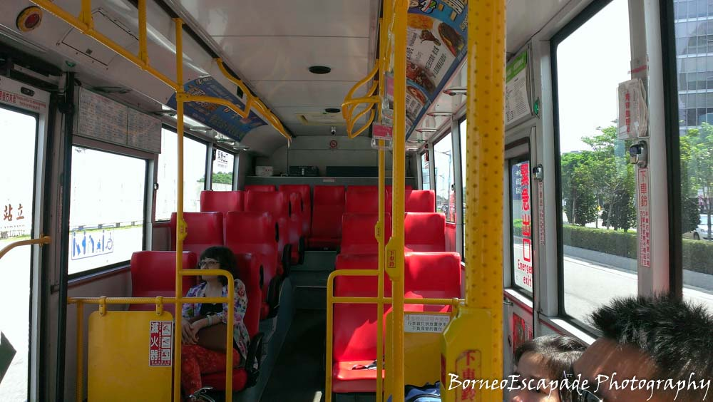 Empty Bus. On the way to Taoyuan HSR (High Speed Railway station). This bus driver was very grumpy. I guess he did not like his job.