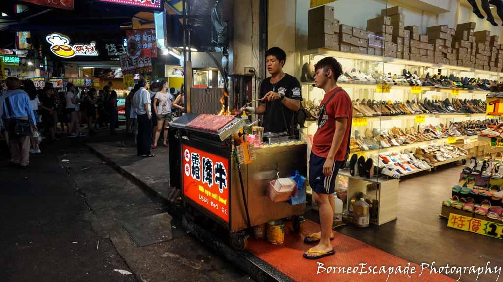 At Fengjia Market. Steak on the spot.